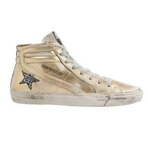 GOLDEN GOOSE Gold and Glitter High-Top Sneaker 39